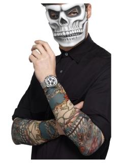 Paar Tatoo-Ärmel Schädel und Blumen