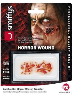 Schreckliche Zombiehaut Halloween Make-up rot