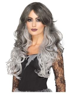 Deluxe Damen-Perücke lang gewellt grau