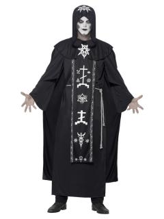 Düsterer Kultist Halloween-Kostüm für Herren schwarz-weiss