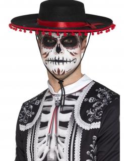 Dia de los Muertos Sombrero für Erwachsene schwarz-rot