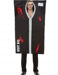 Leichensack-Kostüm für Herren schwarz-weiss-rot