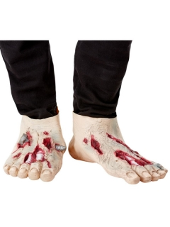 Blutige Zombie-Überschuhe Halloween-Accessoire beige-rot