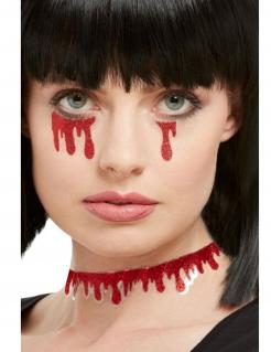 Fließendes Blut Halloween-Sticker für Erwachsene 3 Stück rot