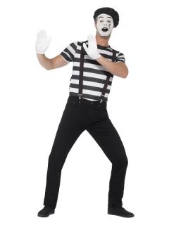 Mimen-Kostüm für Herren mit Schminke Halloweenkostüm schwarz-weiss