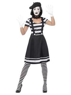 Mimen-Kostüm für Damen mit Schminke Halloween-Kostüm schwarz-weiss