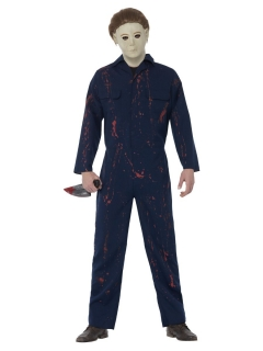 Michael Myers Kostüm für Herren blau-weiss