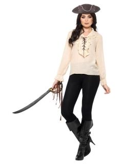 Damen-Piratenhemd für Geisterpiraten beigefarben
