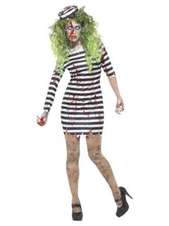 Sträflings-Zombie-Kostüm für Damen schwarz-weiss-rot