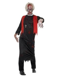 Zombiepriester-Kostüm für Herren schwarz-rot