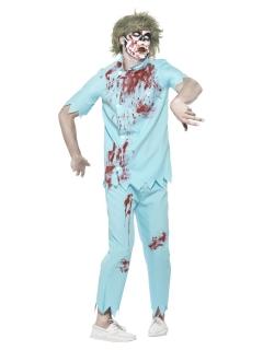 Zombie Zahnarzt Herren-Kostüm blau-rot