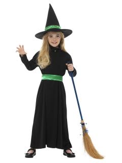 Klassisches Hexen-Kostüm für Mädchen schwarz-grün