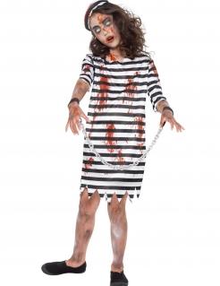 Zombiehäftlings-Kostüm für Mädchen schwarz-weiss
