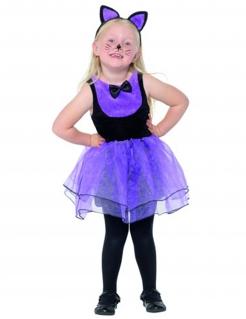Niedliches Katzenkostüm für Mädchen violett-schwarz