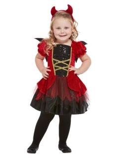 Kleine Teufelin Baby-Kostüm für Mädchen rot-schwarz-goldfarben