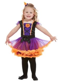 Süßes Kürbis-Kostüm für Mädchen violett-schwarz-orange
