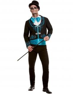 Dia de los Muertos Herrenkostüm schwarz-blau-weiss