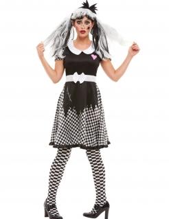 Horror-Puppe-Kostüm für Damen Halloween-Kostüm schwarz-weiss