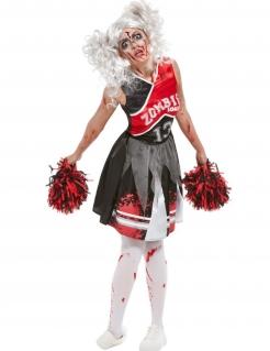 Zombie-Cheerleaderkostüm für Damen schwarz-weiss-rot