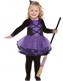 Hexenkostüm für Kleinkinder violett-schwarz-weiss