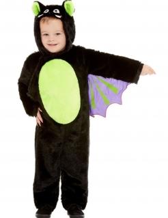 Niedliche Fledermaus Kinder-Kostüm schwarz-grün-violett