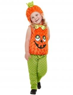 Freundliches Halloween Kürbis-Kostüm für Kinder orange-grün-schwarz