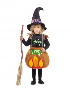 Hexen-Kessel-Kostüm für Mädchen Hexen-Kinderkostüm bunt