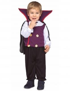 Kleiner Vampirlord Baby-Kostüm für Halloween violett-weiss-schwarz