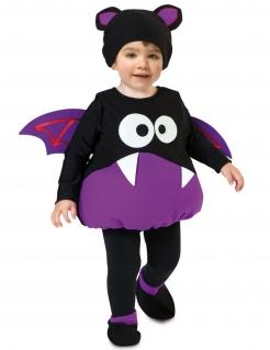 Niedliches Fledermaus-Kostüm für Kleinkinder schwarz-violett-weiss