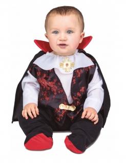Niedliches Vampir-Kostüm für Babys schwarz-weiss-rot