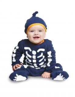 Niedliches Baby-Skelettkostüm blau-weiss-orangefarben