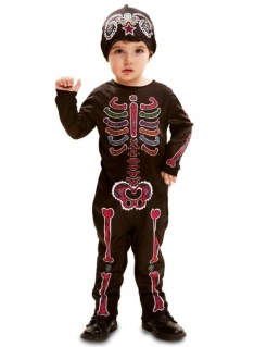 Dia de los Muertos-Kostüm für Babys schwarz-bunt
