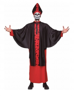 Skelett-Bischof Herren-Kostüm schwarz-rot