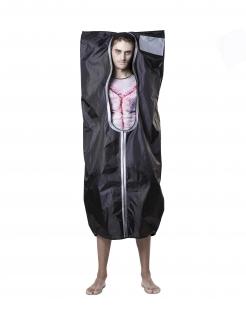 Leichensack Herren-Kostüm für Halloween schwarz-grau