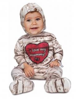 Mumien-Kostüm für Babys braun-weiss-rot