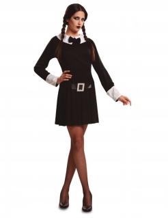 Unheimliche Schülerin Damen-Kostüm für Halloween schwarz-weiss