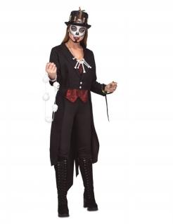 Voodoo-Magierin Damen-Kostüm für Halloween schwarz-rot-weiss