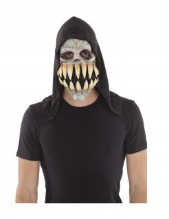 Skelettmaske mit Riesenzähnen grau-schwarz