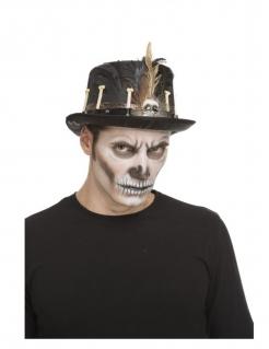 Knochen-Hut Voodoo-Accessoire schwarz-braun-weiss
