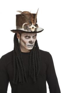 Magier-Zylinder Voodoo-Hut braun-weiss