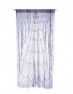 Spinnennetz-Vorhang grau-schwarz 220 x 160 cm