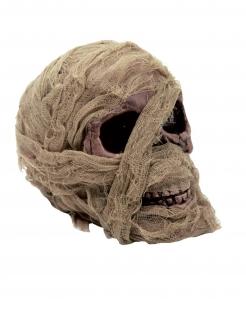 Mumifizierter Schädel Halloween-Deko beigefarben 20 x 16 cm