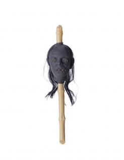 Voodoo-Zepter Schrumpfkopf Halloween-Accessoire beige-grau 50x13x13 cm