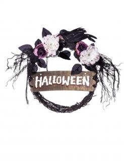 Gothic-Türkranz mit Vogel Halloween-Deko schwarz-weiss-violett 44x36x54 cm