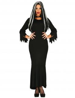 Düstere Dame des Hauses Damenkostüm für Halloween schwarz