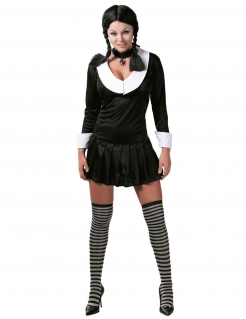 Düstere Schülerin Damen-Kostüm sexy schwarz-weiss