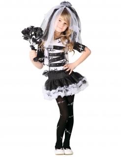 Süße Horrorbraut Kinder-Kostüm schwarz-weiss