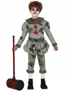 Böser Killerclown Kinder-Kostüm für Halloween grau-rot