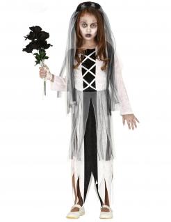 Spukende Geisterbraut Kinder-Kostüm für Mädchen weiss-schwarz
