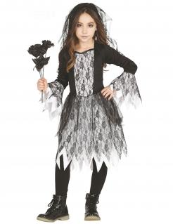 Untote Braut Gothic-Kostüm für Mädchen weiss-schwarz